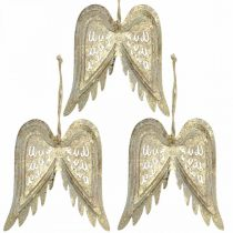 Skrzydła anioła, metalowa ozdoba do zawieszenia, dekoracja choinkowa Złota, antyczna ozdoba o wyglądzie H11,5cm W11cm 3szt.