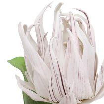 Kwiatek piankowy biały, fioletowy 12cm L30cm 1szt.