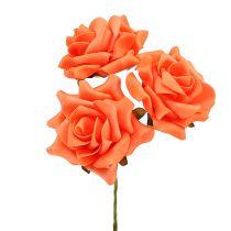 Róża piankowa Ø 10cm Pomarańczowa 8szt