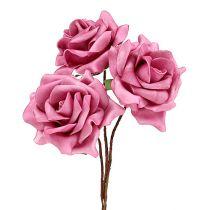 Róża piankowa Ø7,5cm Różowa 18szt
