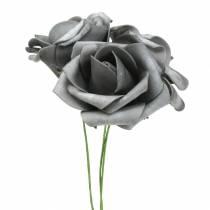 Róża piankowa Ø7,5cm Szara 18szt.