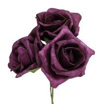 Róże piankowe Ø7,5cm Mauve 18szt