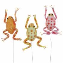 Dekoracyjne żabki w kropki z drucikiem 7,5cm 3szt asortyment