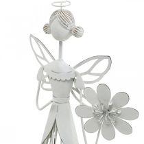 Wiosenna dekoracja, kwiatowa wróżka, metalowy lampion, wróżka z kwiatem 34,5cm