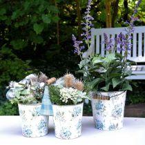 Dekoracja wiosenna, wiaderko metalowe, wiaderko na rośliny wzór kwiatowy, dekoracja metalowa H15/11/9,5cm zestaw 3 szt.