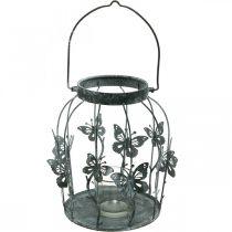 Wiosenna dekoracja, lampion z motylami, metalowy lampion, lato, dekoracja świec