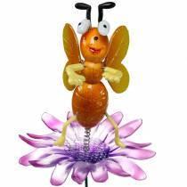 Kwietnik wtyczka Pszczoła na kwiat z metalowymi piórami pomarańczowy, fioletowy H74cm