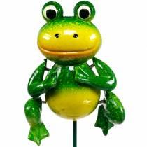 Korek dekoracyjny skacząca żaba z metalowymi piórami zielony, żółty H65,5cm