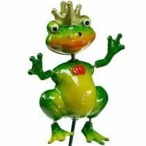 Korek ogrodowy żabi król z metalową sprężyną zielony, żółty, złoty H68,5cm
