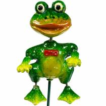Plant Plug Decorative Frog with Fly and Metal Feathers Green, Yellow, Red H68,5cm