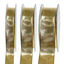 Wstążka prezentowa złota z drucianym brzegiem 25m