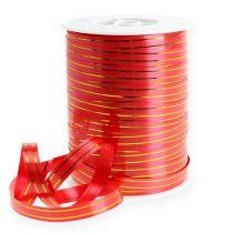 Wstążka prezentowa 2 złote paski na czerwonym tle 10 mm 250m