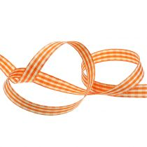 Wstążka prezentowa w kratkę pomarańczowa 15mm 20m