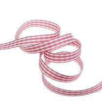 Wstążka prezentowa w kratkę różowa 15mm 20m