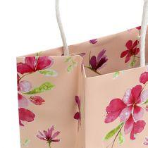 Torebki prezentowe z kwiatami 20cm x 11cm x 25cm 6szt.
