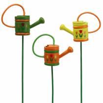 Konewka do zatyczek do kwiatów drewniana zielona, żółta, pomarańczowa różne 7,5cm x 5,9cm H30,5cm 12szt.