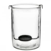 Lampion szklany z uchwytem na tealight czarny metal Ø13,5×H20cm