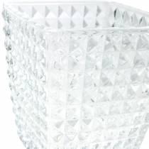 Lampion szklany sześcian wzór fasetowy, dekoracja stołu, wazon ze szkła, dekoracja szklana 2szt.