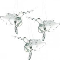 Dekoracja szklana rajskie ptaki, dekoracja koliber, zawieszka szklana, dekoracja ptak 3szt.