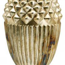 Dekoracja jesienna, dekoracyjny żołądź z prawdziwego szkła, adwentowy, antyczny wygląd Ø12cm H21cm