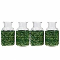 Deco Szklanka do butelek z basztą zielona H10cm 4szt.