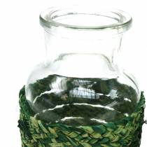 Butelka szklana z rafią zielona H12,5cm 3szt.