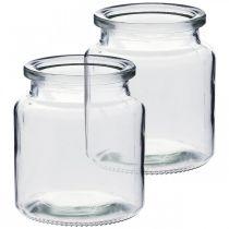 Szklany słoik do wypełnienia, wazon na kwiaty, dekoracja stołu, szklany lampion 2szt.