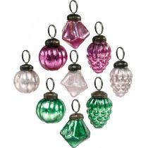 Kula szklana mix, diament/kula/stożek wykonana z prawdziwego szkła, wygląd antyczny Ø3-3,5cm H4,5-5,5cm 9szt.