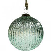 Szklana kula do zawieszenia niebieska vintage dekoracja świąteczna szklana Ø15cm