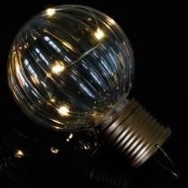 Solarna lampa LED Retro wygląd przezroczysty ciepły biały Ø8cm