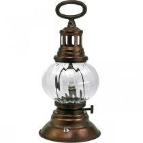 Latarnia sztormowa LED, metalowa lampa, lampa dekoracyjna, wygląd vintage Ø12,5cm H30cm