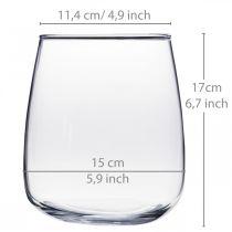 Wazon szklany, wazon na kwiaty, wazon dekoracyjny Ø15cm H17cm