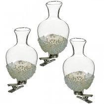 Wazon szklany z klipsem brokatowym i koralikamiØ4,9cm H9,5cm Przezroczysty 3szt.