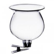 Wazon szklany dzwonek z klipsem przezroczysty Ø5,5cm H6cm 4szt.