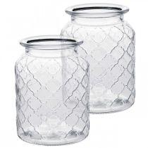 Wazon szklany wzór romb, lampion, dekoracyjne naczynie szklane, dekoracja stołu 2szt.