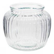 Wazon szklany prążkowany Ø14cm H13cm