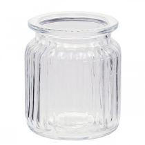 Wazon szklany prążkowany Ø7,5cm H9cm