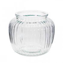 Wazon szklany prążkowany Ø11cm H10cm