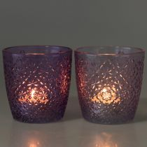 Lampion szklany fioletowy Ø9cm H9cm 2szt.