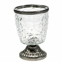 Lampion szklany na nóżce antyk z metalową obręczą Ø9cm H13,5cm