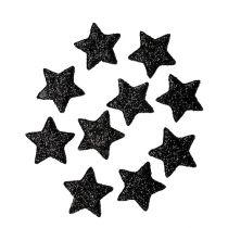 Gwiazda brokatowa czarna 2,5cm 100szt.