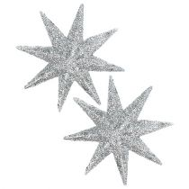 Gwiazda brokatowa srebrna Ø10cm 12szt.