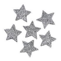 Gwiazda brokatowa srebrna Ø2,5cm 48szt.