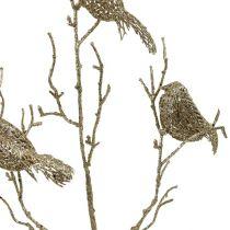 Brokatowa gałąź z ptakami 75 cm złota