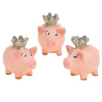 Lucky Pig różowa z koroną 4cm 6szt.