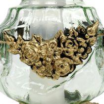 Lampka nagrobna szklana z motywem róży 14cm x 14cm H27cm 2szt.