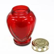 Nagrobek serce czerwone 11,5cm x 8,5cm W17,5cm 4szt