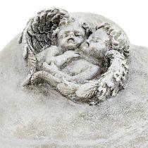 Dekoracja nagrobna serca z aniołkiem 9cm 3szt.