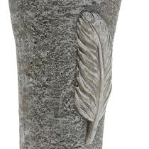 Wazon na groby z piórami szary 25,5cm 2szt.