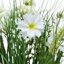 Deco trawa z kwiatami cosmea w misie H45cm